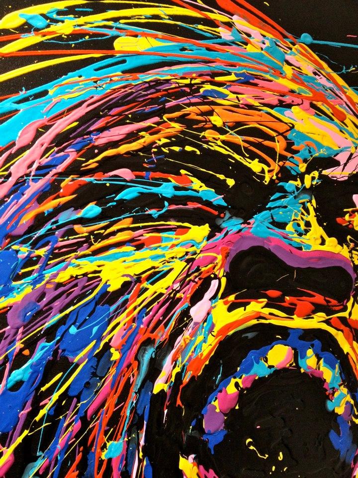 Flow - Cri - Dripping acrylique sur toile - 100x73 cm