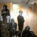 Jef Aerosol - Basquiat Warhol Haring Lennon - Pochoir sur palissade 230x245 cm - Prix 8000€ - Galerie XinArt