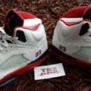 Air Jordan 5 white Fire Red black retro 2013