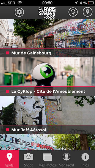 Application My PariApplication My Paris Street Art screenApplication My Paris Street Art screens Street Art screen