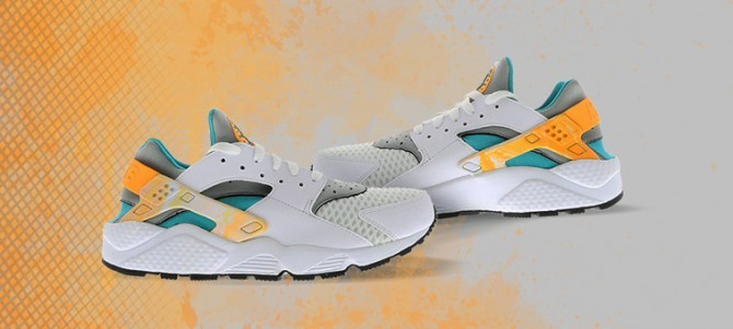 Nike Air Huarache White/Atomic Orange Teal