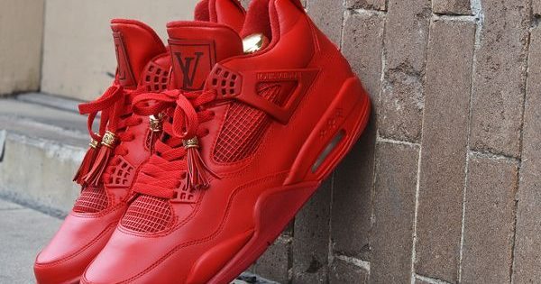 Air Jordan 4 X Louis Vuitton Red Don Dank Customs