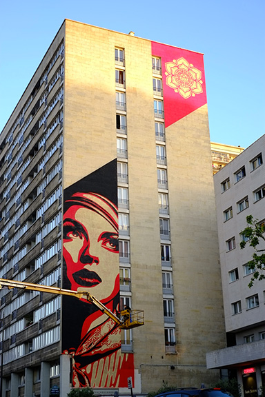 Fresque mural Street Art Paris 13 - Obey