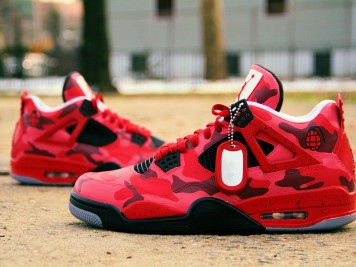 Custom Air Jordan 4 Red Urban Camo - Ecentrik Artistry