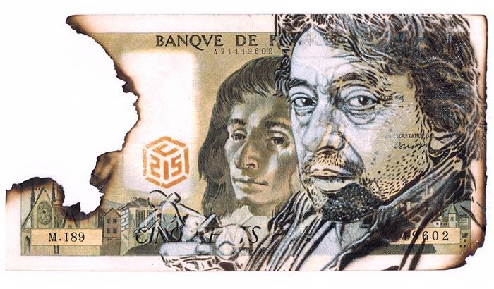 Pochoir C215 sur un Billet 500 francs représentant Serge Gainsbourg