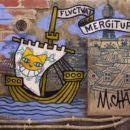 Mr Chat - Fluctuat Nec Mergitur - 100 x 80 cm - 2018 Acrylique et encre sur un panneau de béton assemblage de brique support en bois