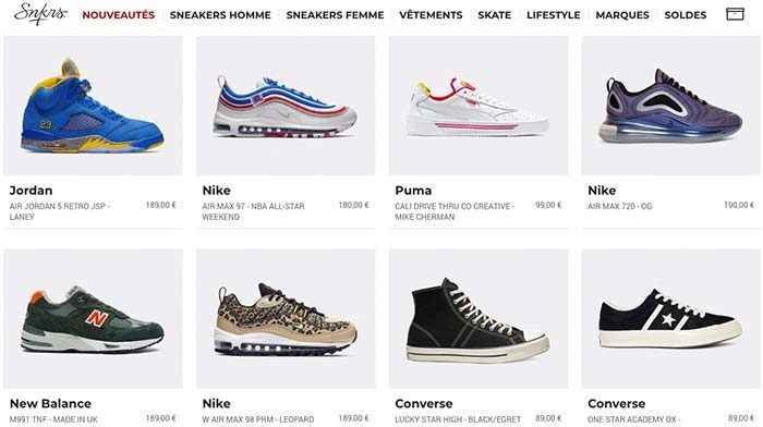 Snkrs Boutique en Ligne Sneakers France