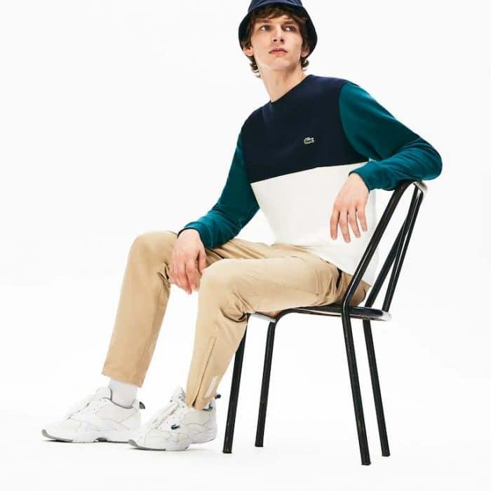 Sweatshirt à col rond bi-matière color-block