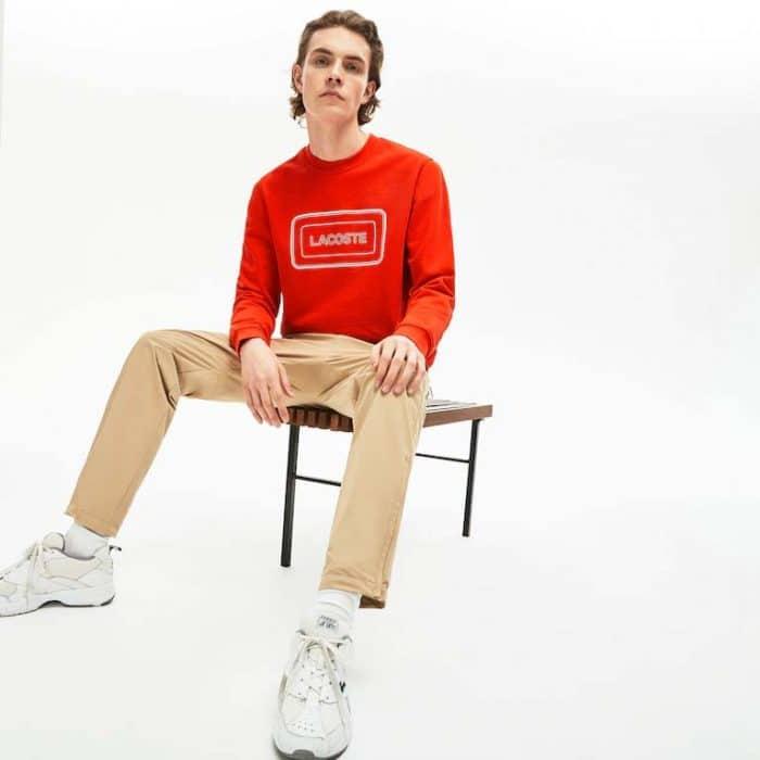 Sweatshirt à col rond en molleton avec marquage Lacoste